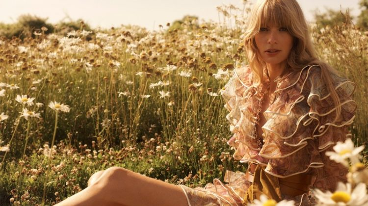 Zimmermann features Lucky tiered mini dress in fall 2020 campaign.