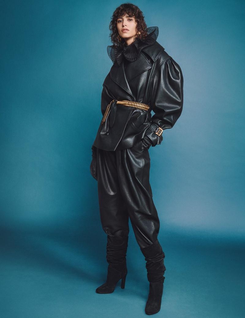 Clad in leather, Mica Arganaraz fronts Alberta Ferretti fall-winter 2020 campaign.