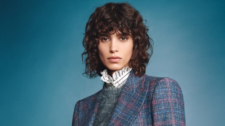 Mica Arganaraz suits up in Alberta Ferretti fall-winter 2020 campaign.