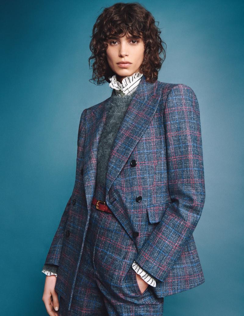 Mica Arganaraz suits up in Alberta Ferretti fall-winter 2020 campaign.