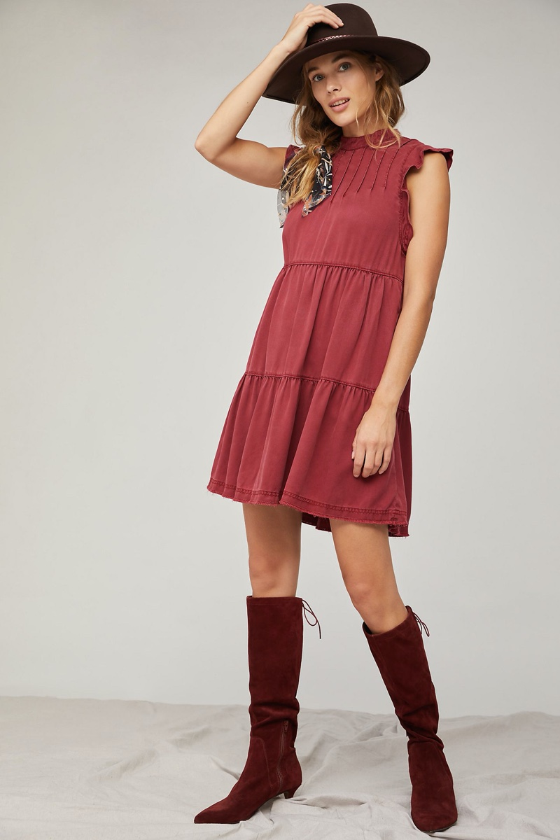 Anthropologie Jenee Tiered Tunic Dress in Crimson $128