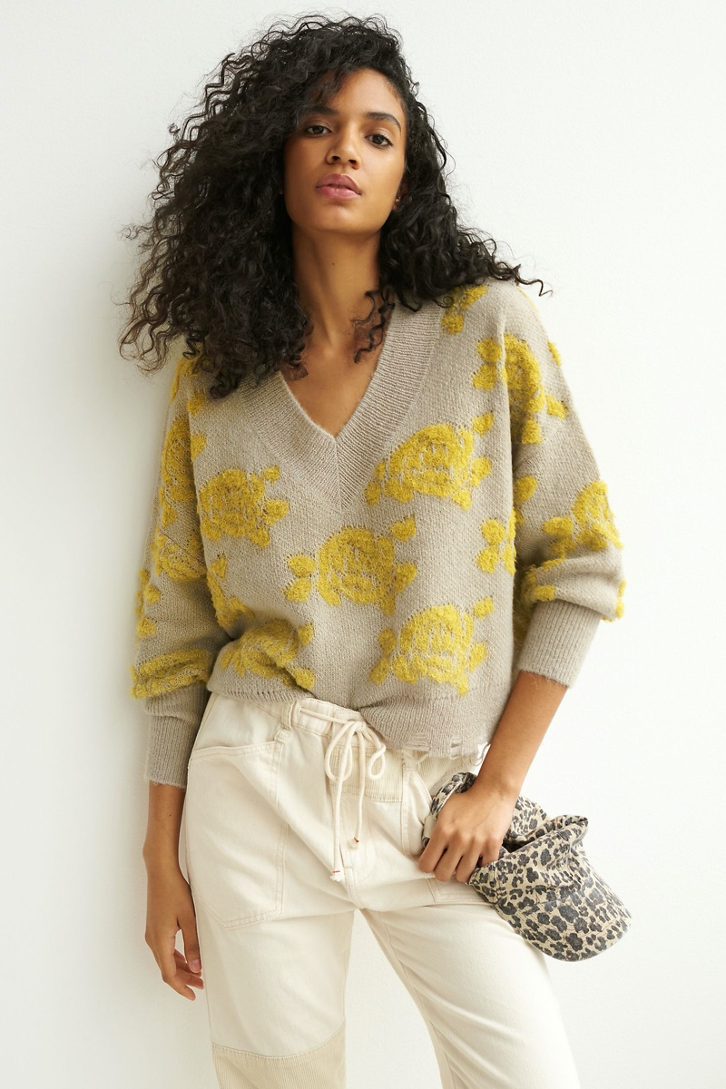 Anthropologie Lucila Sweater in Citron Floral $128