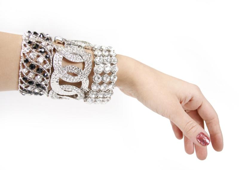 Arm Model Silver Diamond Stacked Bracelets