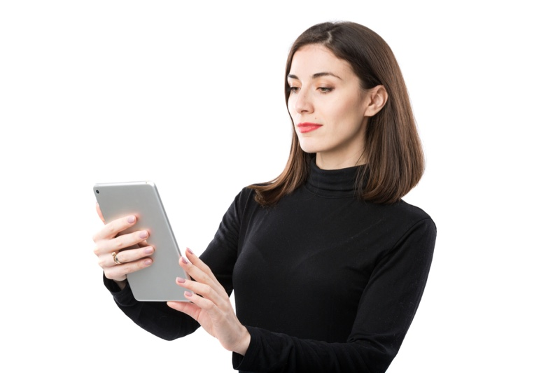 Attractive Woman Looking Tablet Black Turtleneck