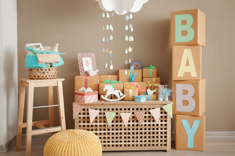 Baby Shower Setting Boxes Crafts Decorations