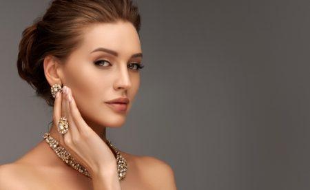 Beautiful Model Glittering Jewelry Elegant