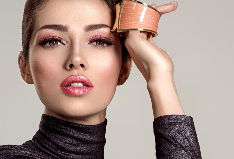 Beauty Glamour Model Pink Glossy Lips Leather Gold Bracelet Makeup
