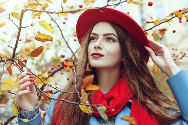 Beauty Model Fall Long Hair Red Scarf Hat Outdoors