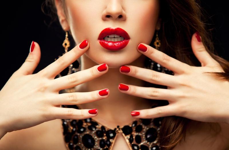 Beauty Red Nails Lipstick Glamorous