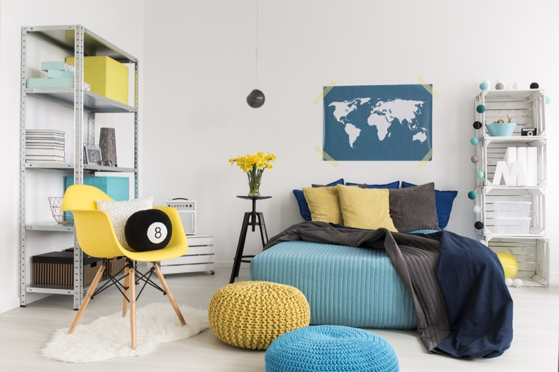 Bedroom Colorful Map Chair Knit Bags