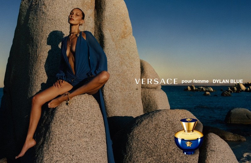 Versace taps Bella Hadid for Dylan Blue fragrance campaign.