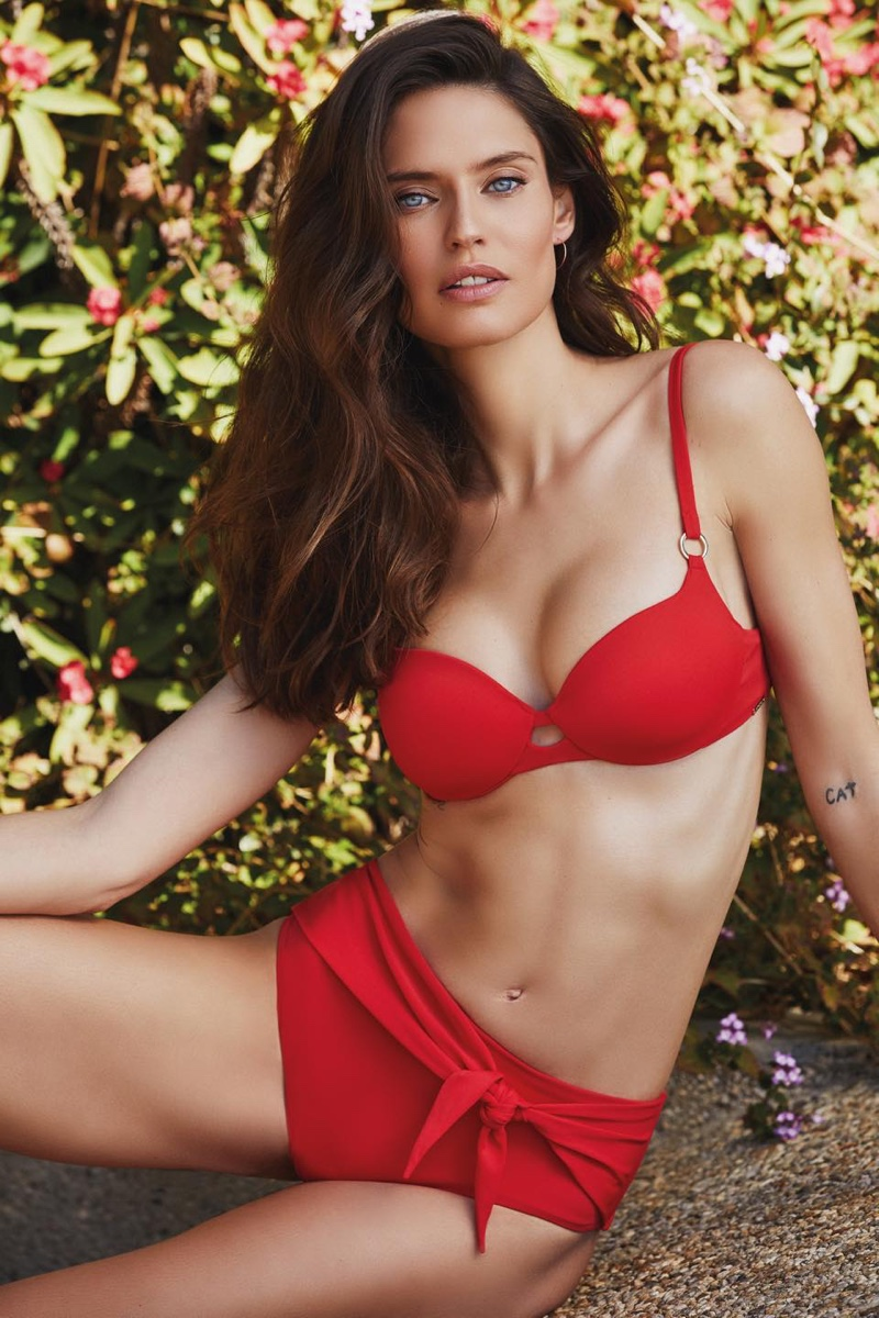 Model Bianca Balti looks red-hot in Yamamay Swim 2020 campaign.