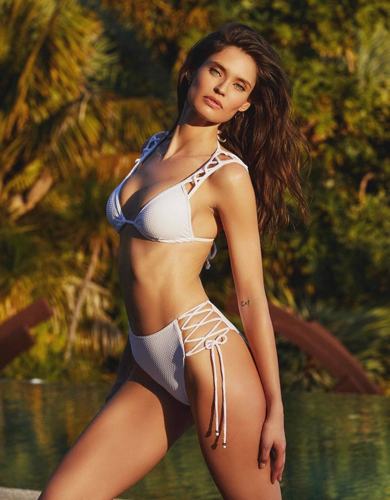 Model Bianca Balti wears a white bikini from Yamamay's summer 2020 collection.