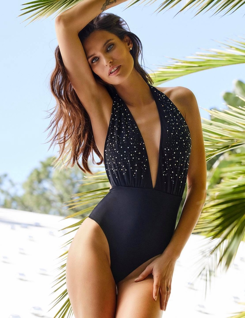 Bianca Balti models halter neckline swimsuit in Yamamay summer 2020 campaign.