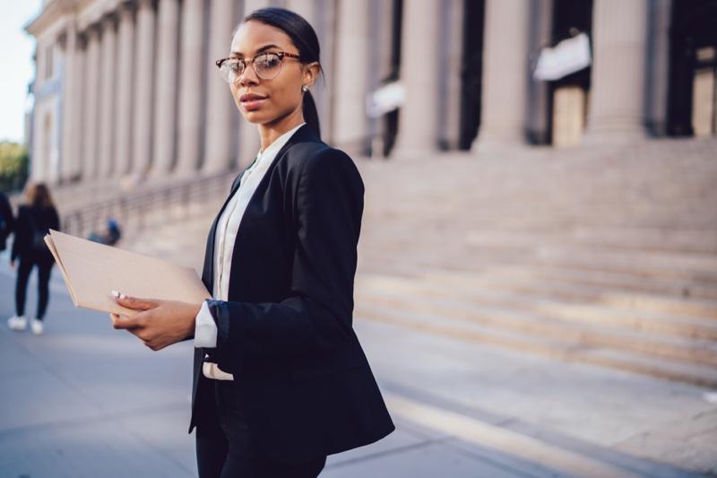 Black Woman Pant Suit Glasses Professional