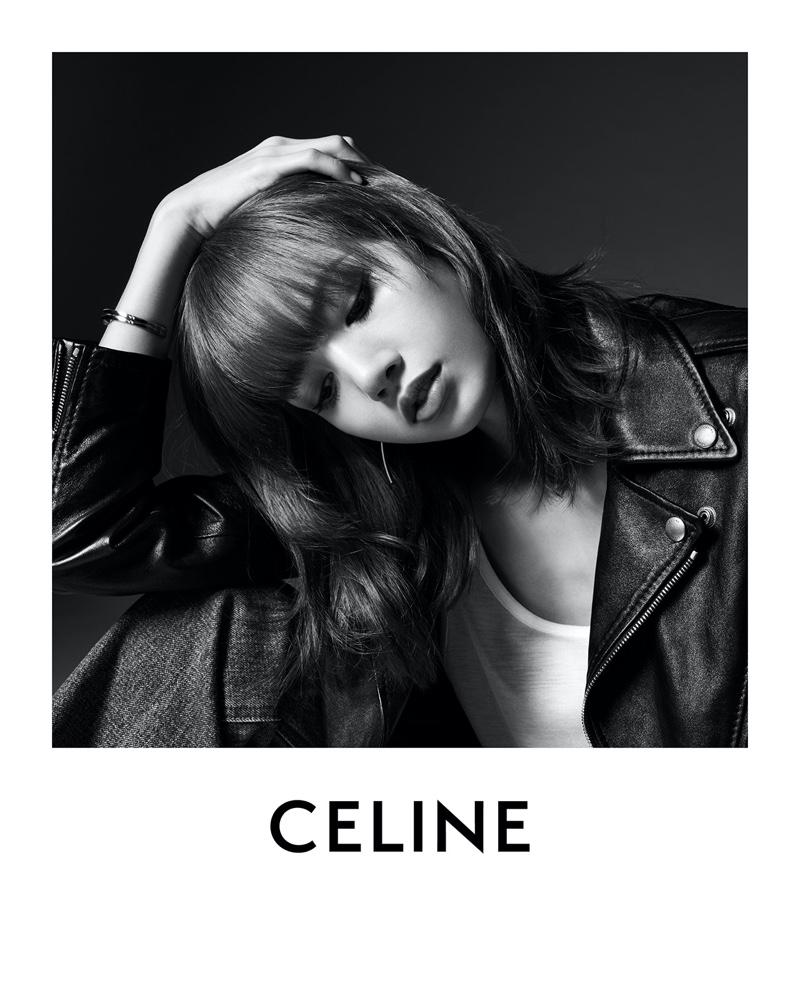 Lisa wears leather jacket in Celine campaign.