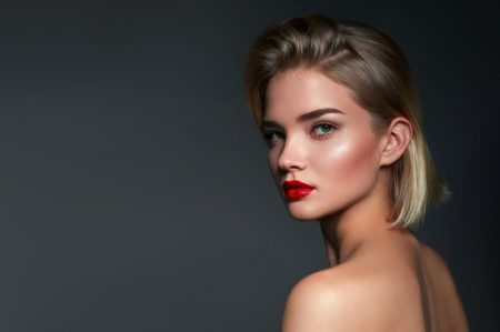 Blonde Beauty Bob Hair Makeup Red Lipstick