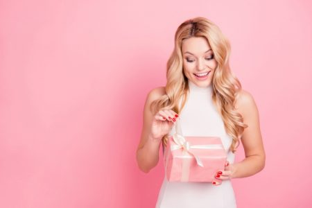 Blonde Woman Pink Gift Box Happy Smiles