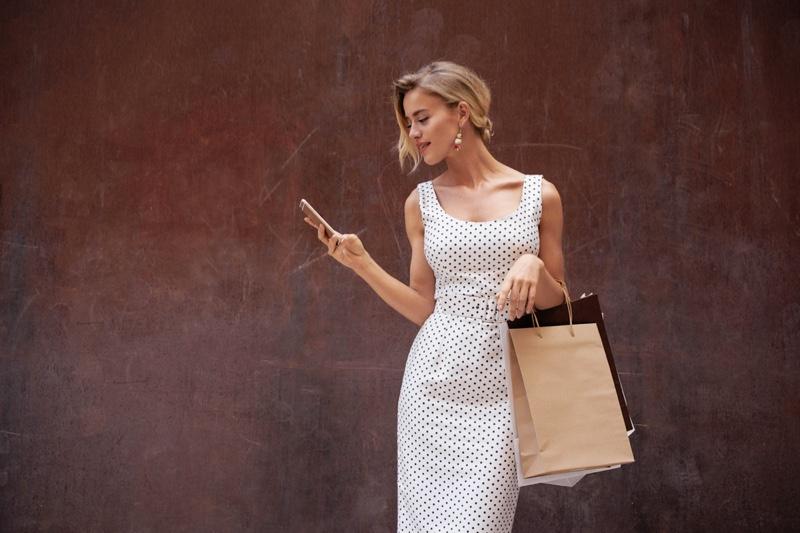 Blonde Woman Polka Dot Dress Shopping Bags Phone