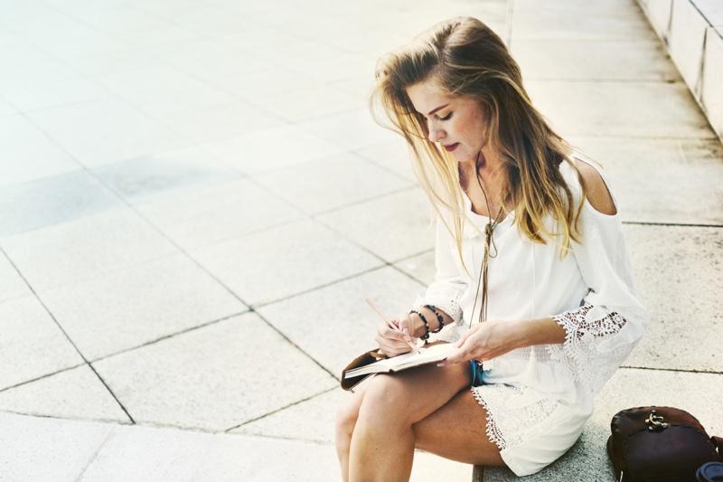 Boho Woman Writing Notebook