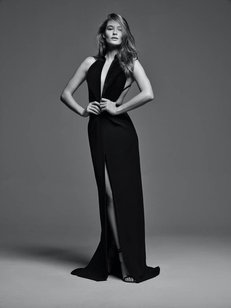 Model Grace Elizabeth poses in black and white for Brandon Maxwell Classic Collection II.