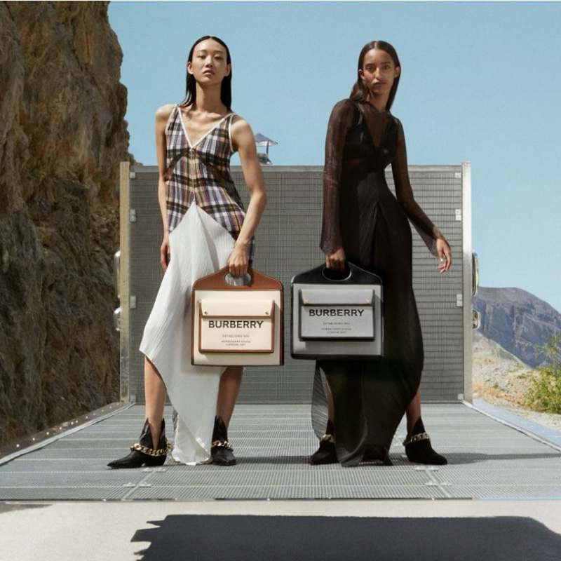 Sora Choi and Mona Tougaard pose for Burberry fall-winter 2020 campaign.