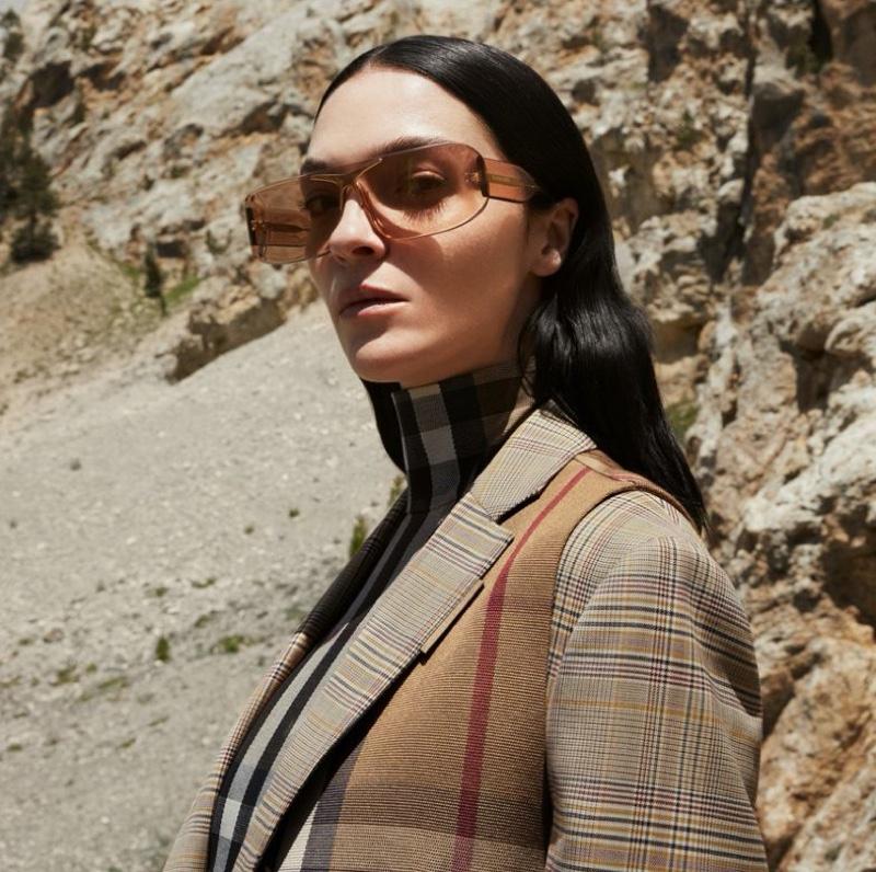 Mariacarla Boscono models sunglasses in Burberry fall-winter 2020 campaign.