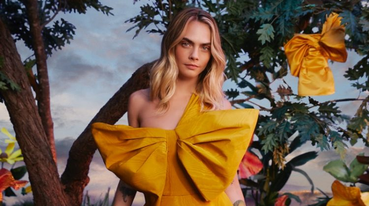 Model and actress Cara Delevingne wears Oscar de la Renta for Amazon Luxury Stores campaign.