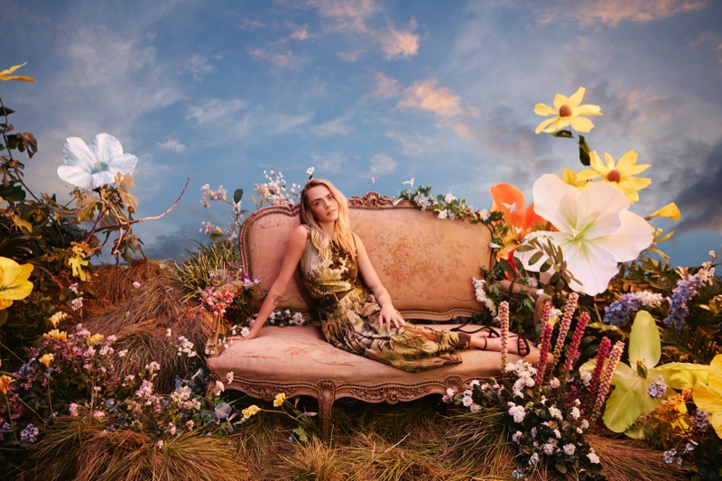Surrounded by nature, Cara Delevingne fronts Amazon Luxury Stores campaign.