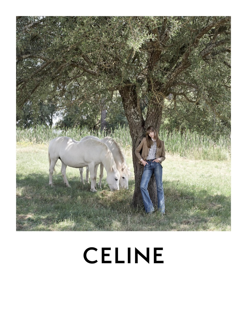 Fran Summers poses outdoors in Celine winter 2020 campaign.