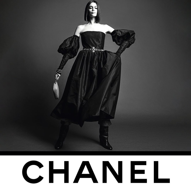 Kaia Gerber poses for Chanel fall-winter 2020 campaign.