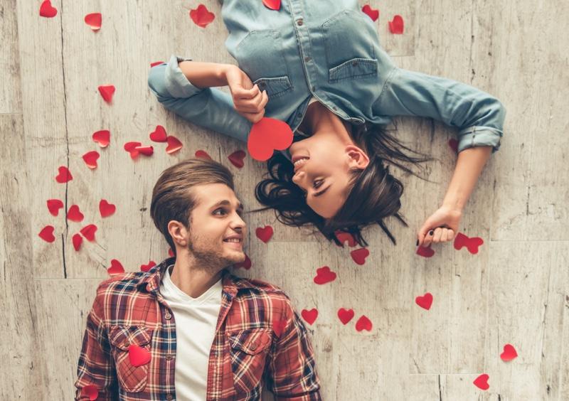 Couple Heart Shaped Cutouts Smiling Happy
