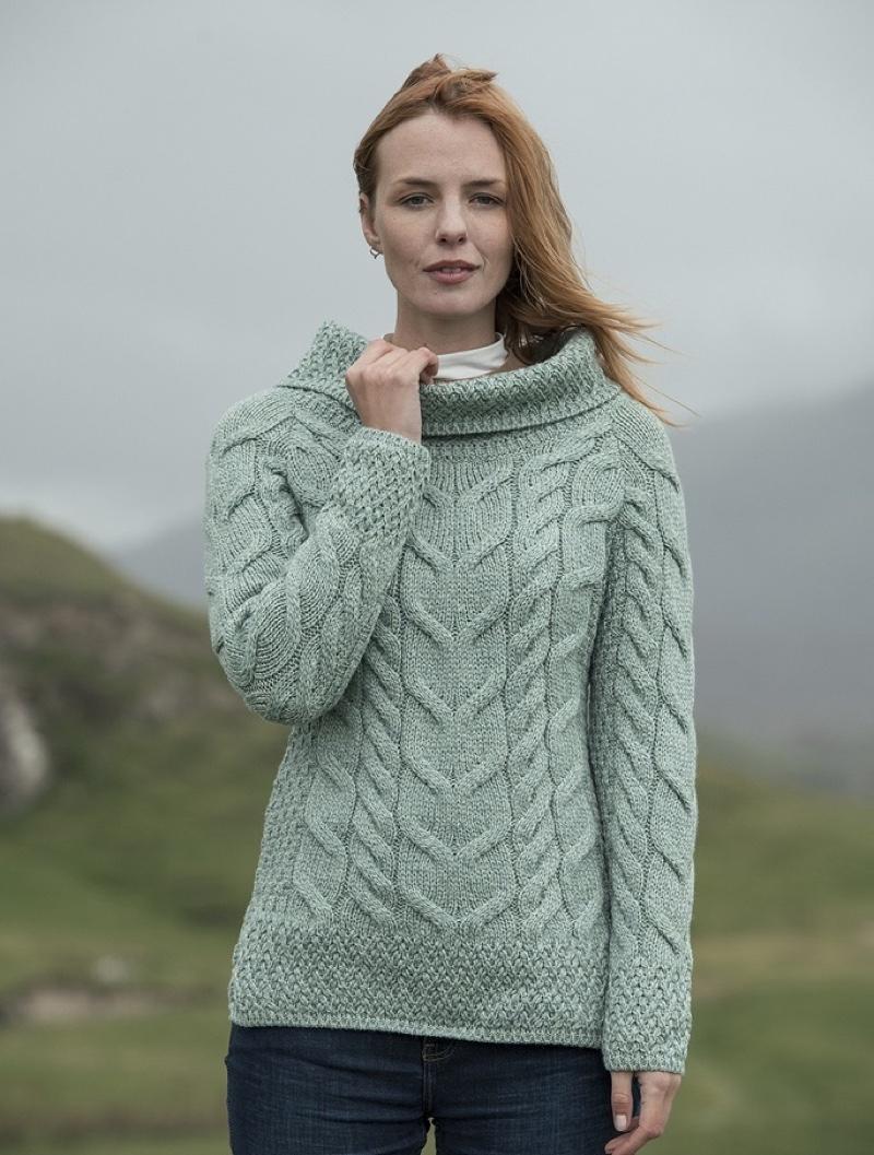Cowl Neck Aran Sweater