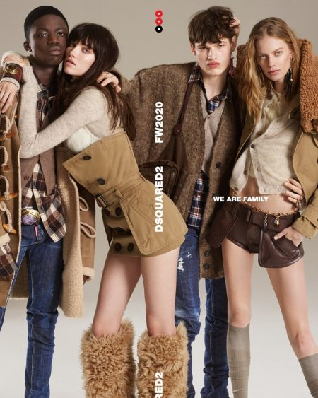 Jeremiah Berko, Grace Hartzel, Louis Goeckenjan, and Lexi Boling front DSquared2 fall-winter 2020 campaign.