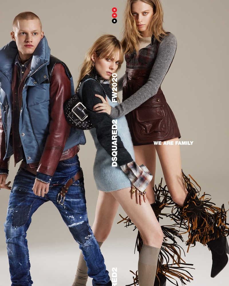 Claas Nemitz, Kiki Willems, and Lexi Boling appear in DSquared2 fall-winter 2020 campaign.