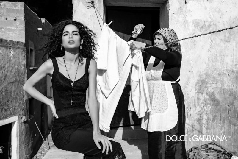 Chiara Scelsi poses in Sicily, Italy, for Dolce & Gabbana fall-winter 2020 campaign.