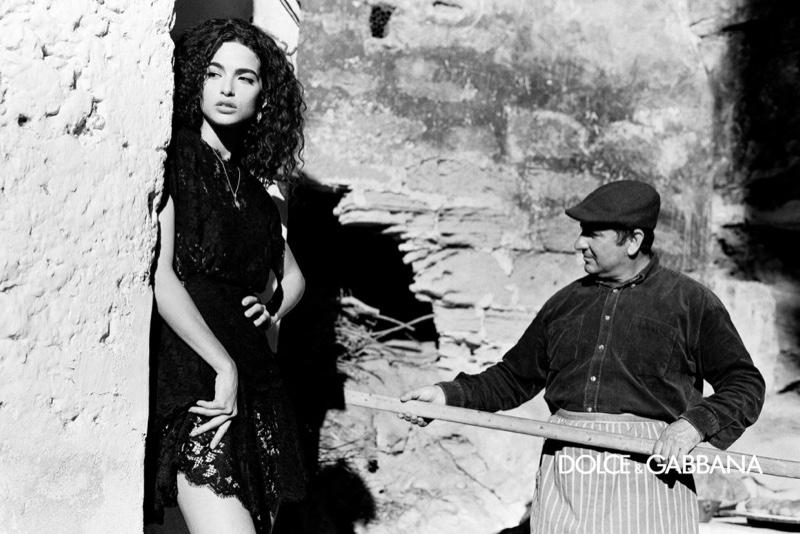 Model Chiara Scelsi stuns in black and white for Dolce & Gabbana fall-winter 2020 campaign.