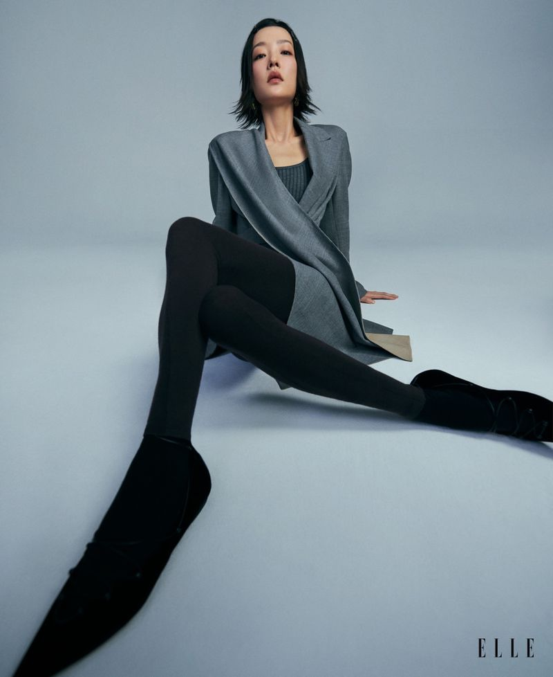 Du Juan Poses in Sophisticated Styles for ELLE Singapore
