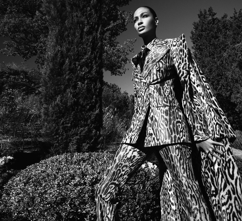 Suiting up, Joan Smalls poses for Ermanno Scervino fall-winter 2020 campaign.