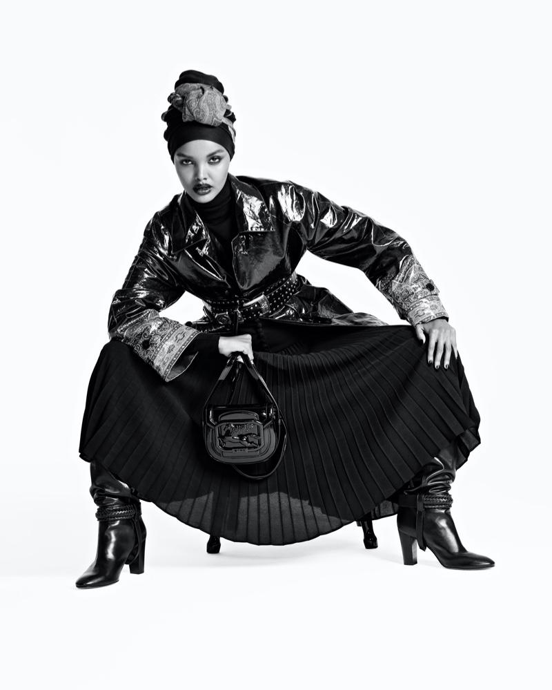 Model Halima Aden poses for Etro Pegasus Club campaign.