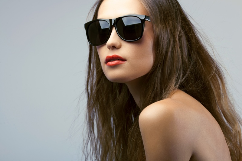 Fashion Model Black Square Sunglasses Beauty