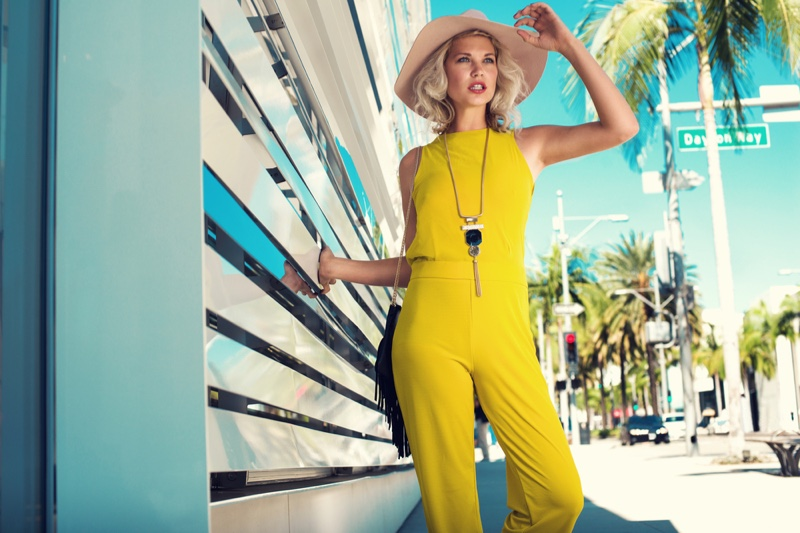 Fashion Model Yellow Outfit Street Sunny Summer