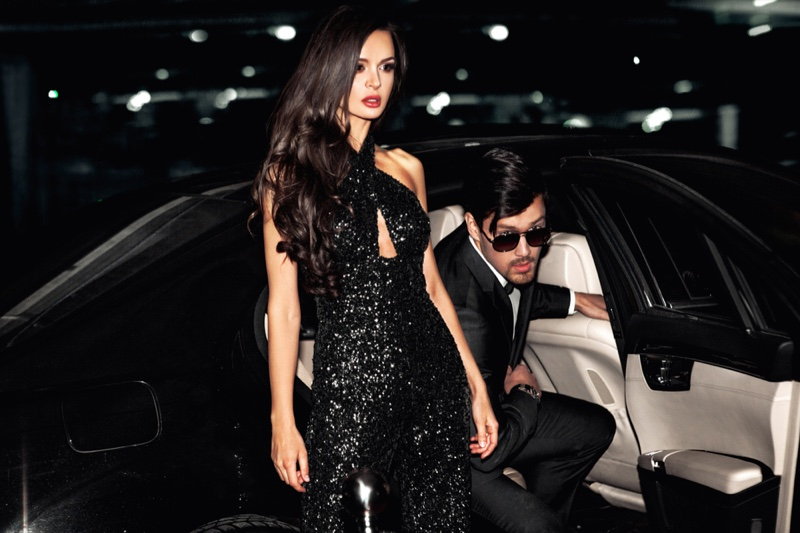 Glam Couple Sequin Jumpsuit Car Suit Models