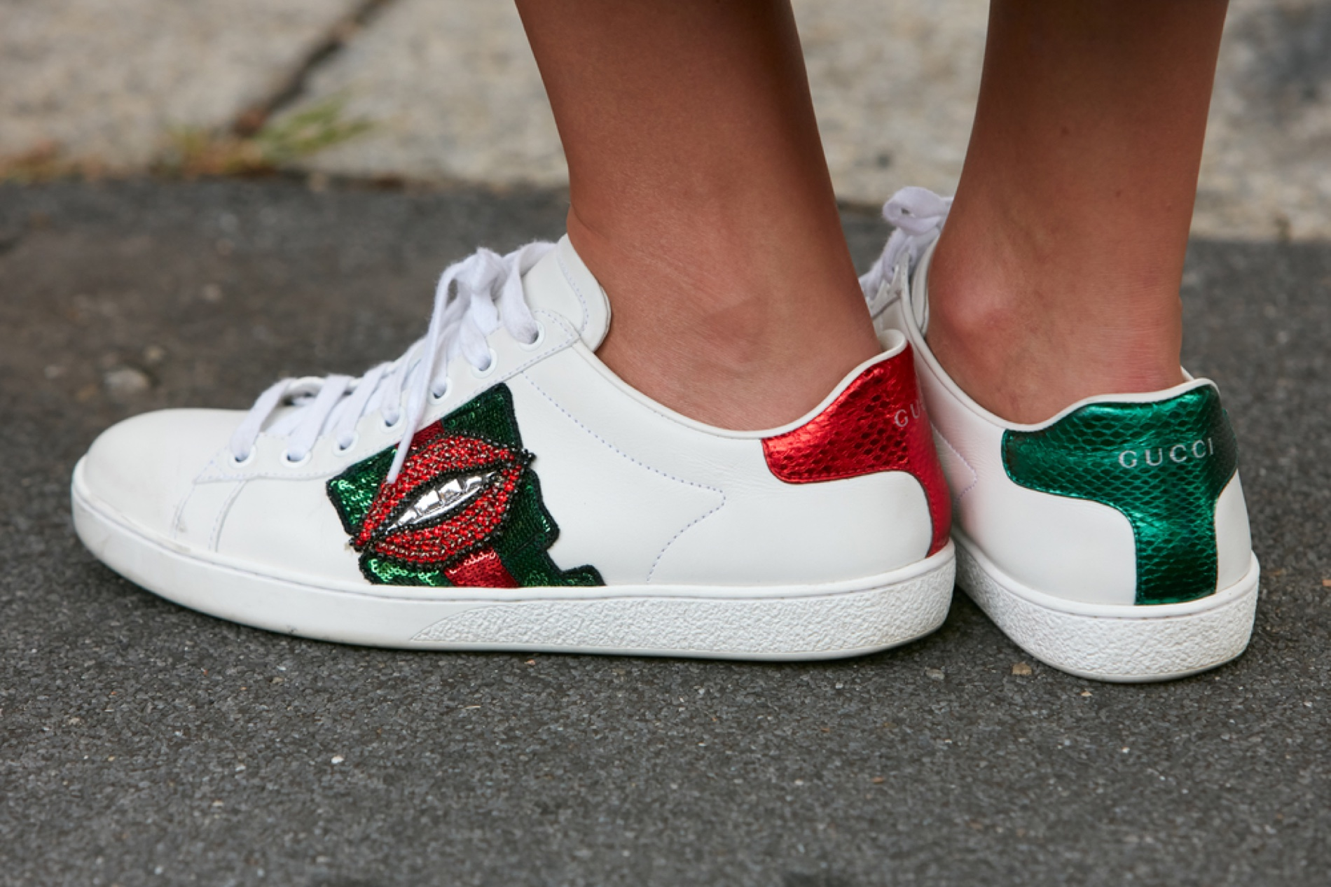 Gucci Embellished Sneakers Lips