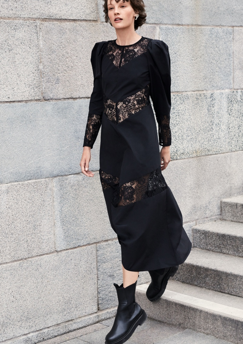 Black lace takes the spotlight in H&M fall 2020 campaign.