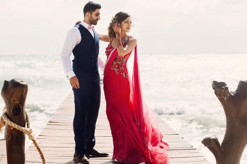 Indian Bride Groom Red Dress Suit Beach