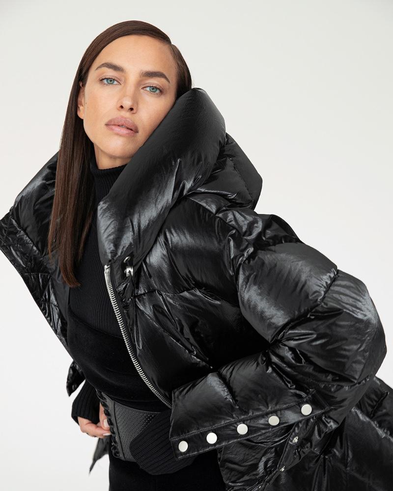 Clad in black, Irina Shayk fronts Nicole Benisti fall-winter 2020 campaign.