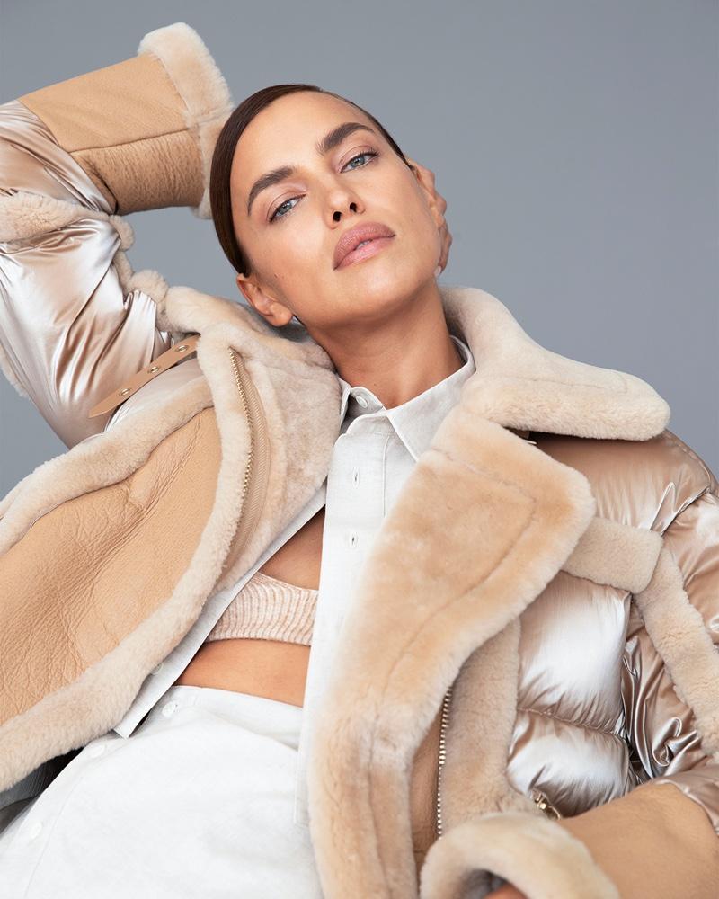 Supermodel Irina Shayk poses in shearling coat for Nicole Benisti fall-winter 2020 campaign.