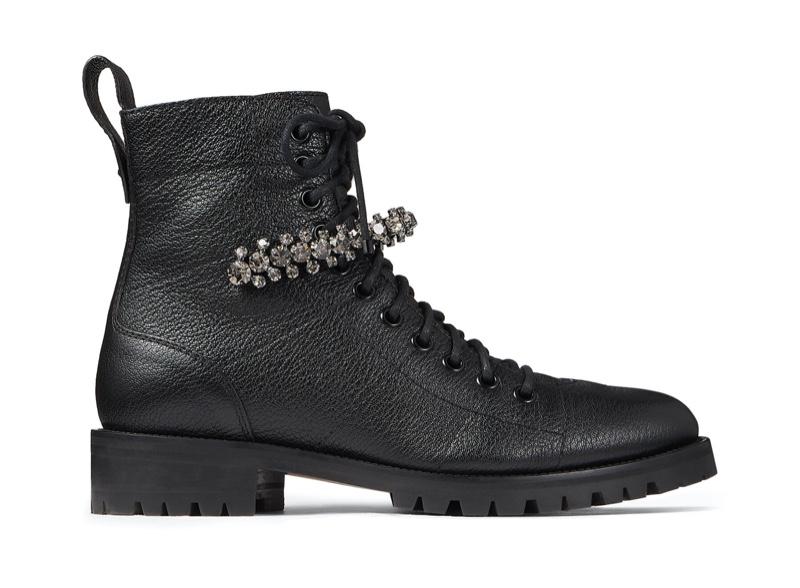 Jimmy Choo Cruz Flat Combat Boots with Crystal Detail $1,250