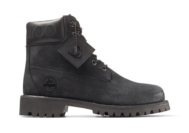 Jimmy Choo x Timberland Black Leather Boots in Gunmetal Glitter $595